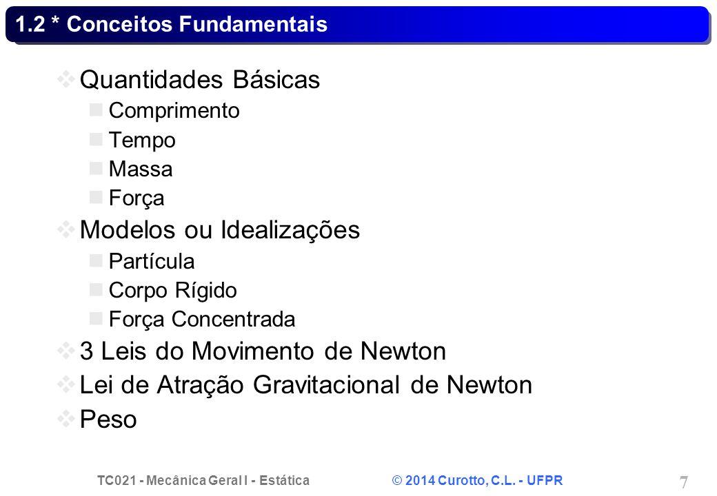 TC021 - Mecânica Geral I - Estática © 2014 Curotto, C.L. - UFPR 7 1.2 * Conceitos Fundamentais Quantidades Básicas Comprimento Tempo Massa Força Model