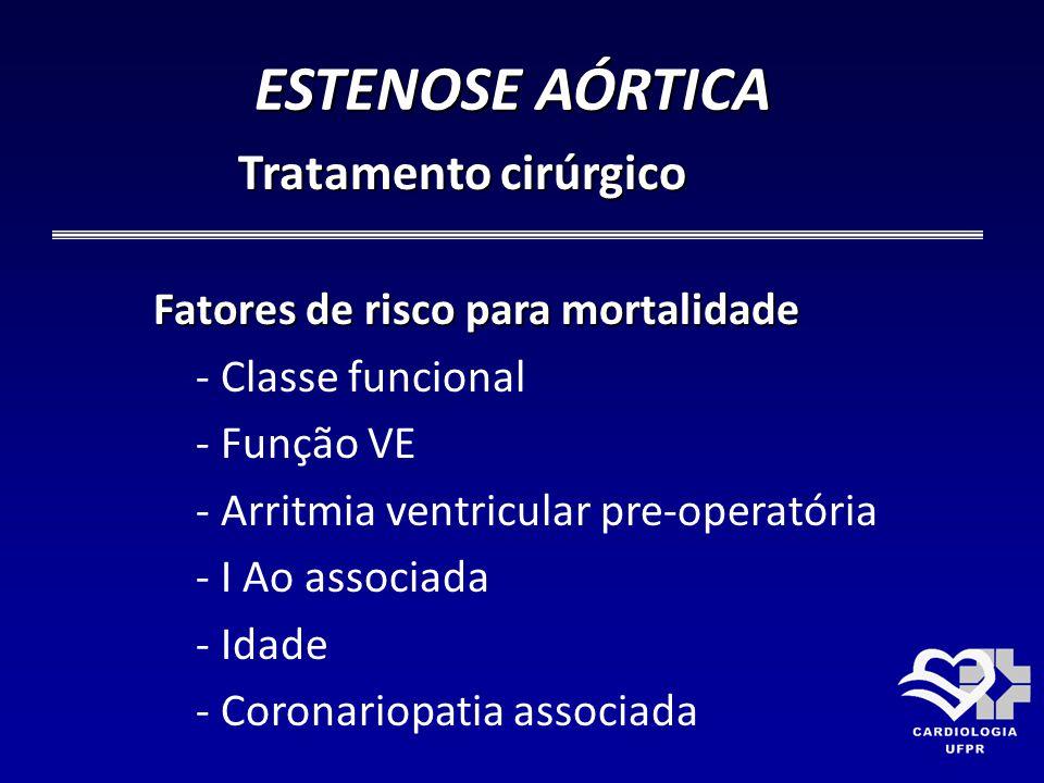 ESTENOSE AÓRTICA Tratamento cirúrgico Fatores de risco para mortalidade - Classe funcional - Função VE - Arritmia ventricular pre-operatória - I Ao as
