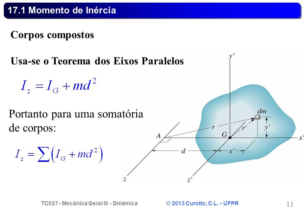 TC027 - Mecânica Geral III - Dinâmica © 2013 Curotto, C.L. - UFPR 11 17.1 Momento de Inércia Corpos compostos Usa-se o Teorema dos Eixos Paralelos Por