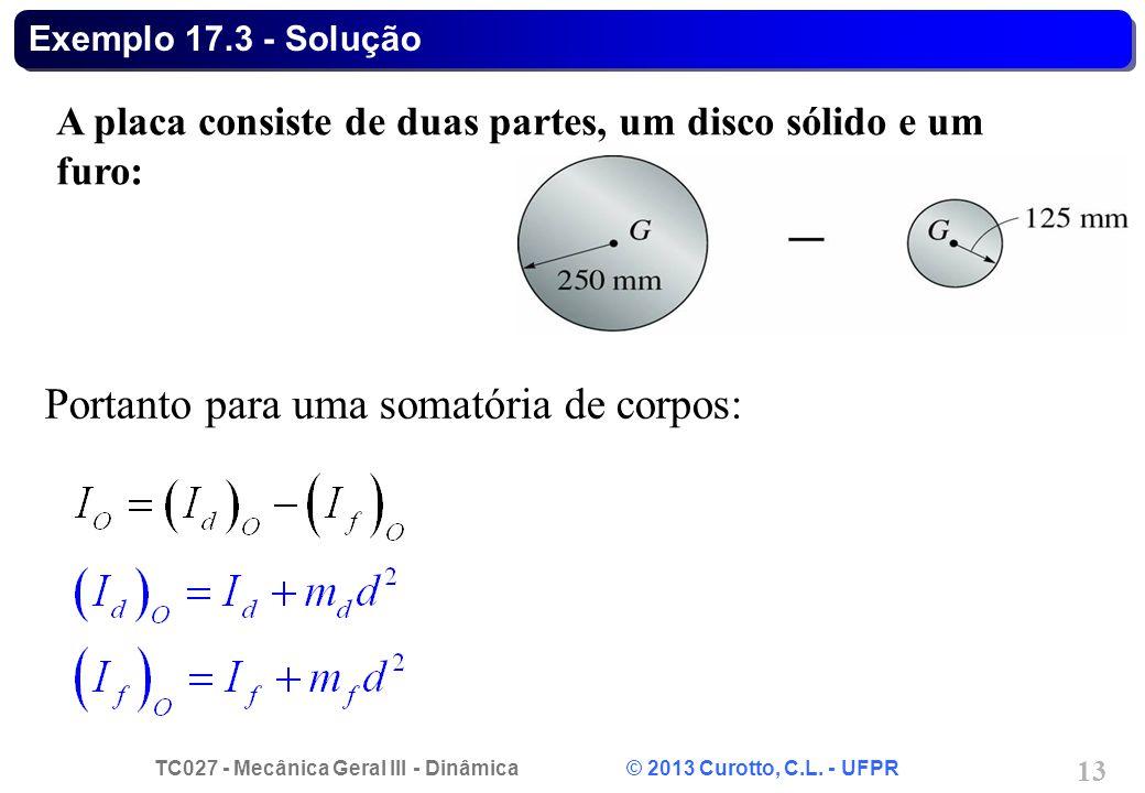 TC027 - Mecânica Geral III - Dinâmica © 2013 Curotto, C.L. - UFPR 13 Exemplo 17.3 - Solução A placa consiste de duas partes, um disco sólido e um furo