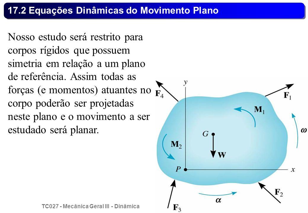 TC027 - Mecânica Geral III - Dinâmica © 2013 Curotto, C.L. - UFPR 18 17.2 Equações Dinâmicas do Movimento Plano Nosso estudo será restrito para corpos