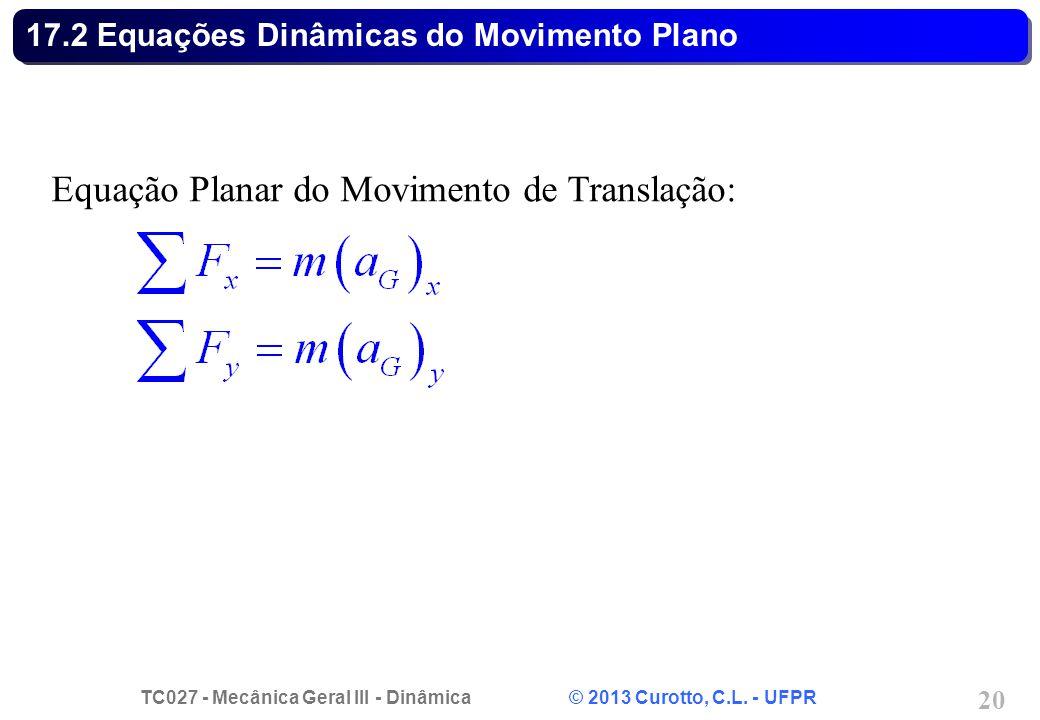 TC027 - Mecânica Geral III - Dinâmica © 2013 Curotto, C.L. - UFPR 20 17.2 Equações Dinâmicas do Movimento Plano Equação Planar do Movimento de Transla