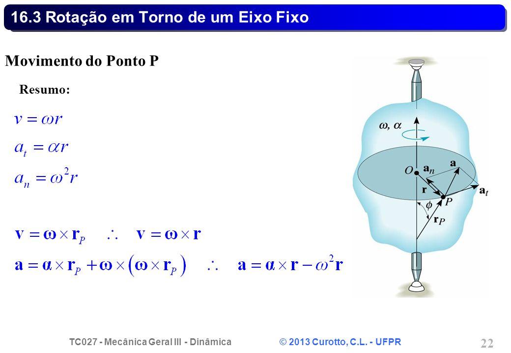 TC027 - Mecânica Geral III - Dinâmica © 2013 Curotto, C.L. - UFPR 22 16.3 Rotação em Torno de um Eixo Fixo Movimento do Ponto P Resumo: