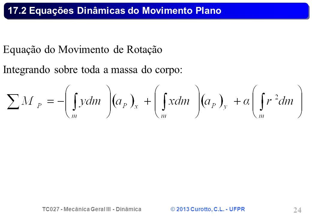 TC027 - Mecânica Geral III - Dinâmica © 2013 Curotto, C.L. - UFPR 24 17.2 Equações Dinâmicas do Movimento Plano Equação do Movimento de Rotação Integr