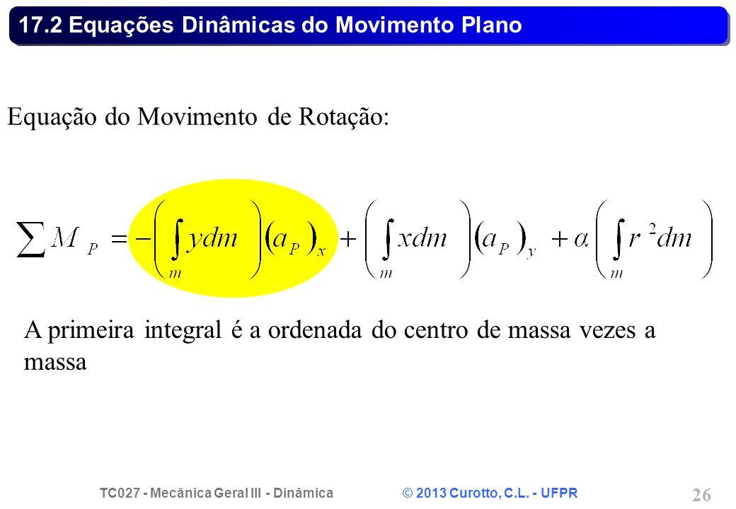 TC027 - Mecânica Geral III - Dinâmica © 2013 Curotto, C.L. - UFPR 26 17.2 Equações Dinâmicas do Movimento Plano Equação do Movimento de Rotação: A pri