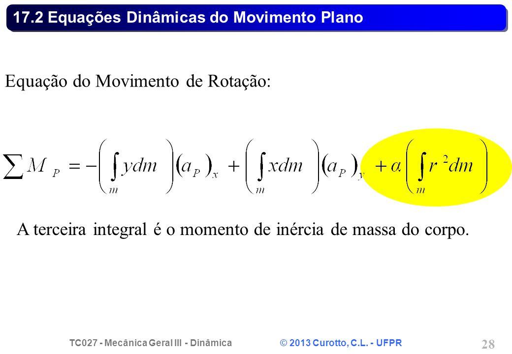 TC027 - Mecânica Geral III - Dinâmica © 2013 Curotto, C.L. - UFPR 28 17.2 Equações Dinâmicas do Movimento Plano Equação do Movimento de Rotação: A ter