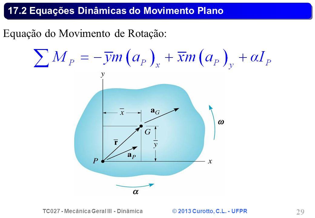 TC027 - Mecânica Geral III - Dinâmica © 2013 Curotto, C.L. - UFPR 29 17.2 Equações Dinâmicas do Movimento Plano Equação do Movimento de Rotação: