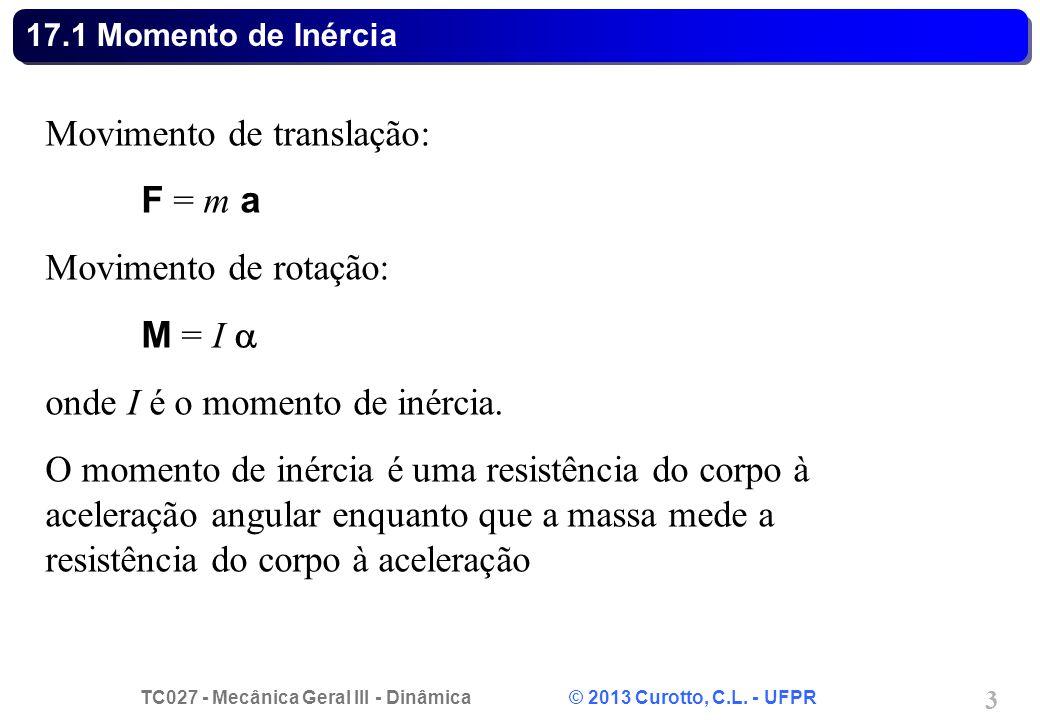 TC027 - Mecânica Geral III - Dinâmica © 2013 Curotto, C.L. - UFPR 3 17.1 Momento de Inércia Movimento de translação: F = m a Movimento de rotação: M =