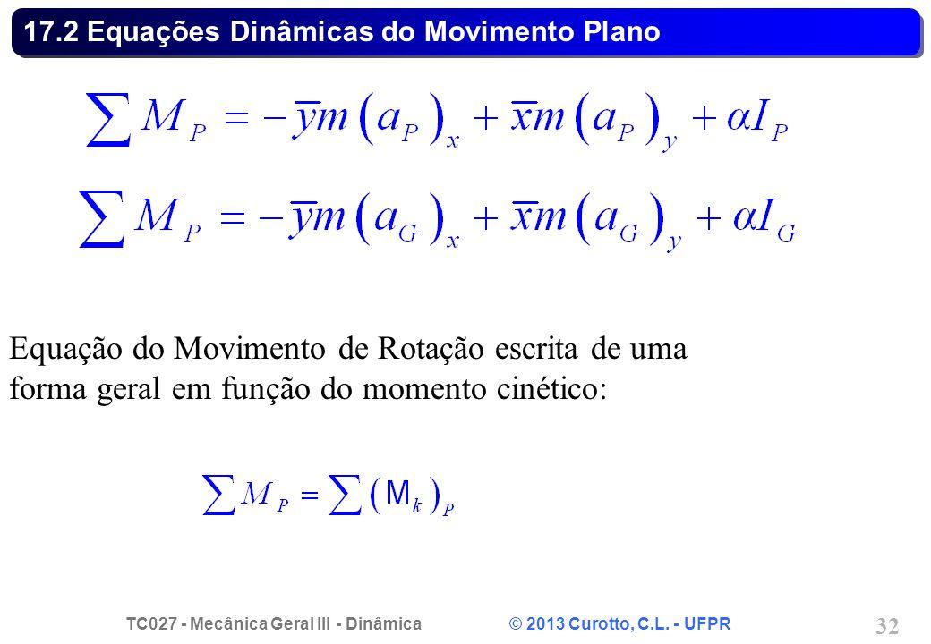 TC027 - Mecânica Geral III - Dinâmica © 2013 Curotto, C.L. - UFPR 32 17.2 Equações Dinâmicas do Movimento Plano Equação do Movimento de Rotação escrit