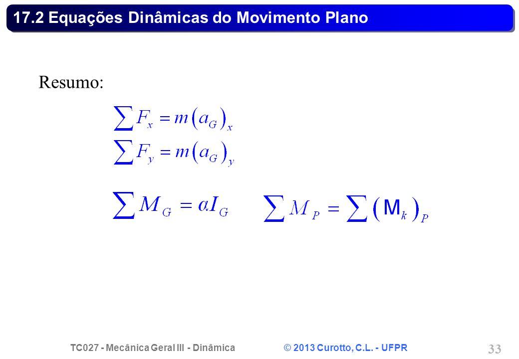 TC027 - Mecânica Geral III - Dinâmica © 2013 Curotto, C.L. - UFPR 33 17.2 Equações Dinâmicas do Movimento Plano Resumo: