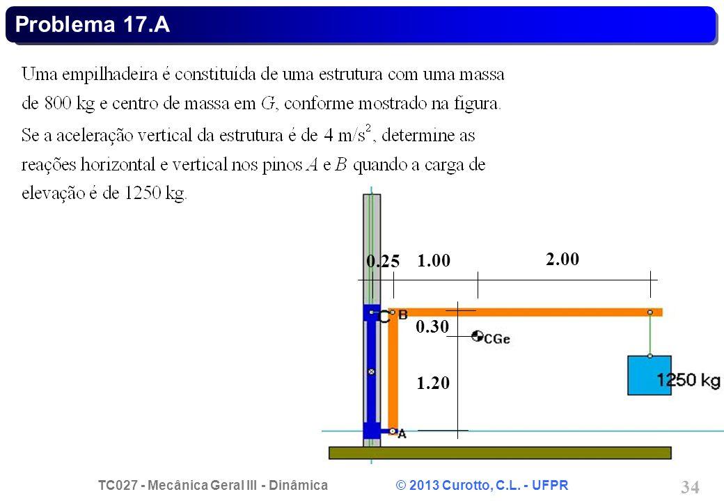 TC027 - Mecânica Geral III - Dinâmica © 2013 Curotto, C.L. - UFPR 34 Problema 17.A 0.25 1.00 2.00 1.20 0.30