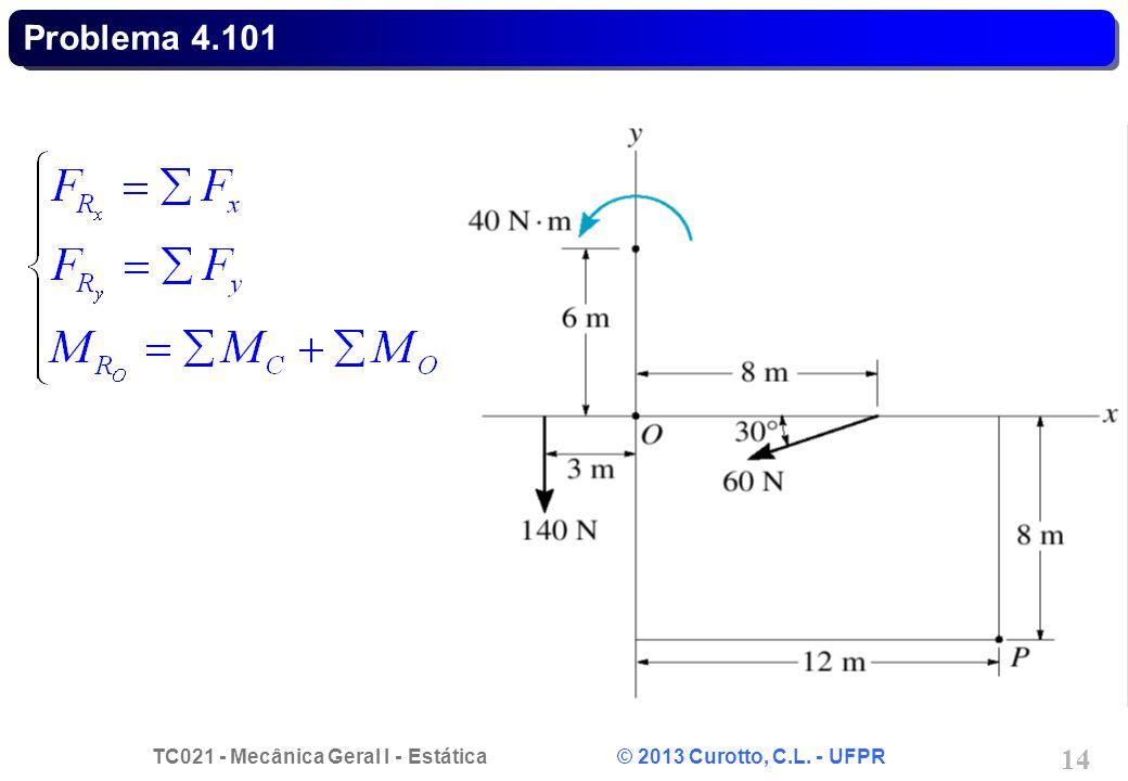TC021 - Mecânica Geral I - Estática © 2013 Curotto, C.L. - UFPR 14 Problema 4.101