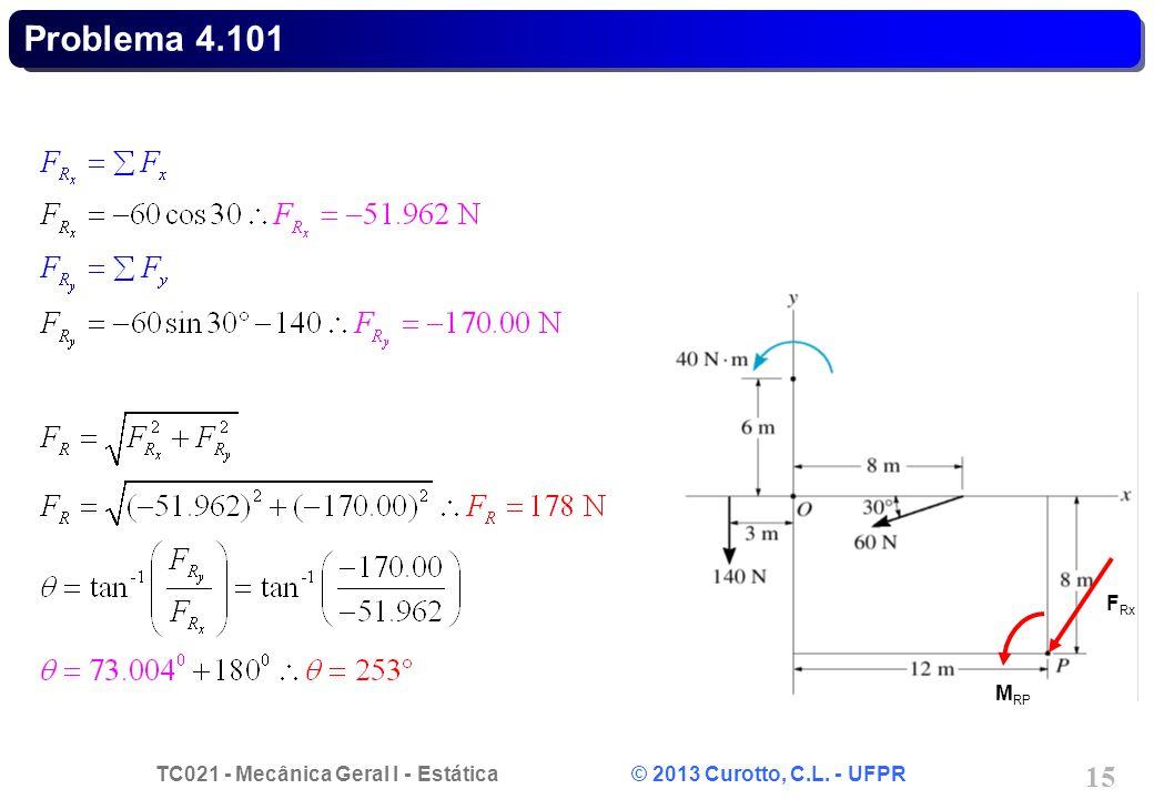 TC021 - Mecânica Geral I - Estática © 2013 Curotto, C.L. - UFPR 15 Problema 4.101 M RP F Rx
