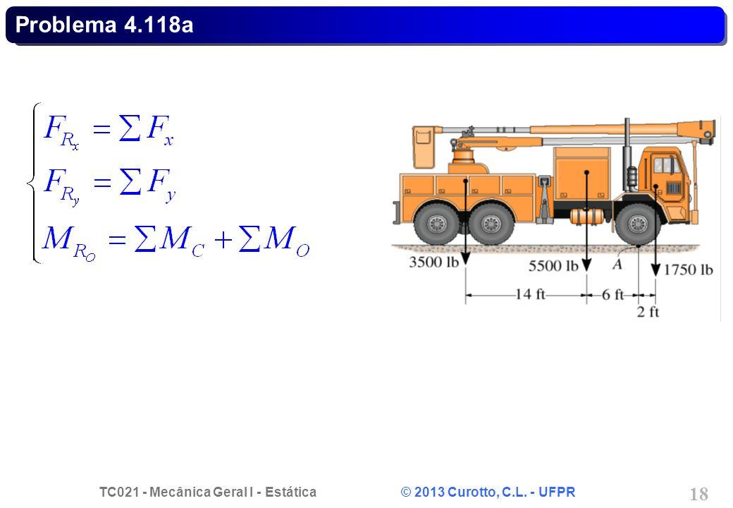 TC021 - Mecânica Geral I - Estática © 2013 Curotto, C.L. - UFPR 18 Problema 4.118a
