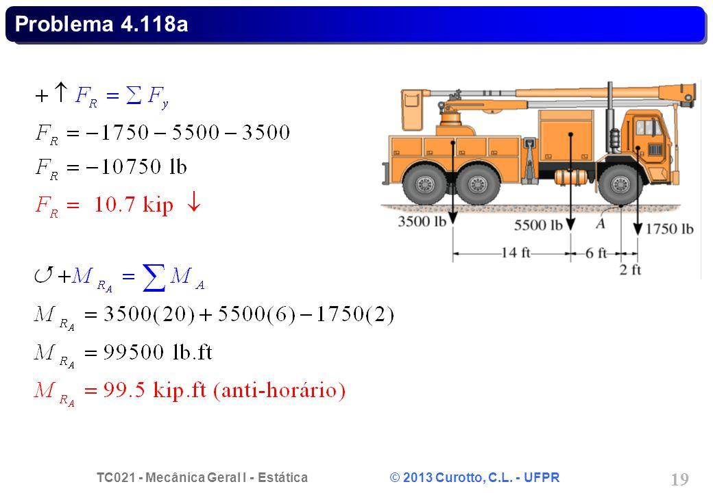 TC021 - Mecânica Geral I - Estática © 2013 Curotto, C.L. - UFPR 19 Problema 4.118a