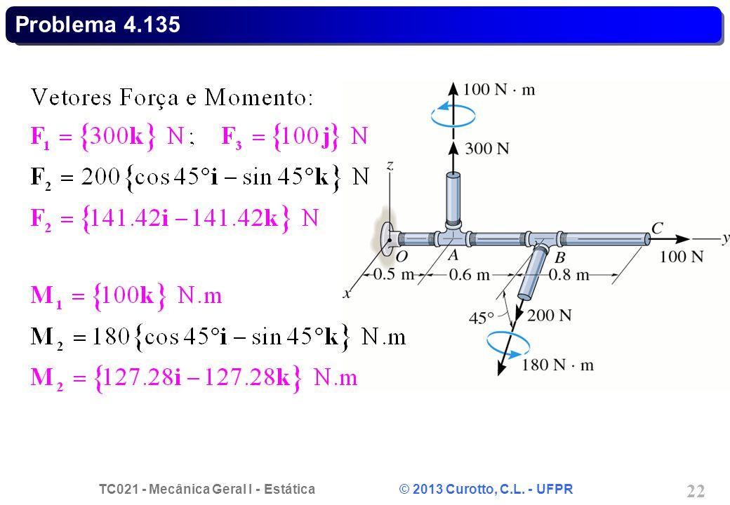 TC021 - Mecânica Geral I - Estática © 2013 Curotto, C.L. - UFPR 22 Problema 4.135