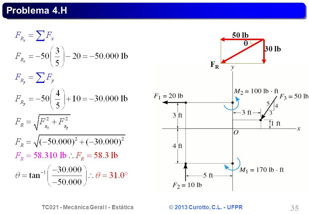 TC021 - Mecânica Geral I - Estática © 2013 Curotto, C.L. - UFPR 35 Problema 4.H 50 lb 30 lb FRFR