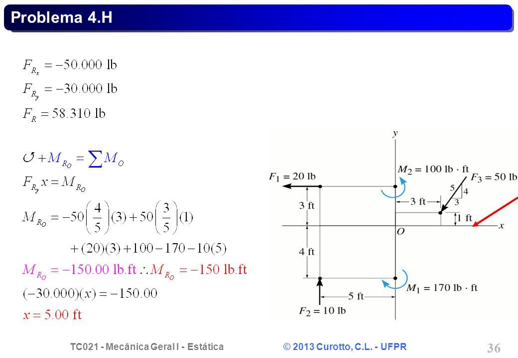 TC021 - Mecânica Geral I - Estática © 2013 Curotto, C.L. - UFPR 36 Problema 4.H