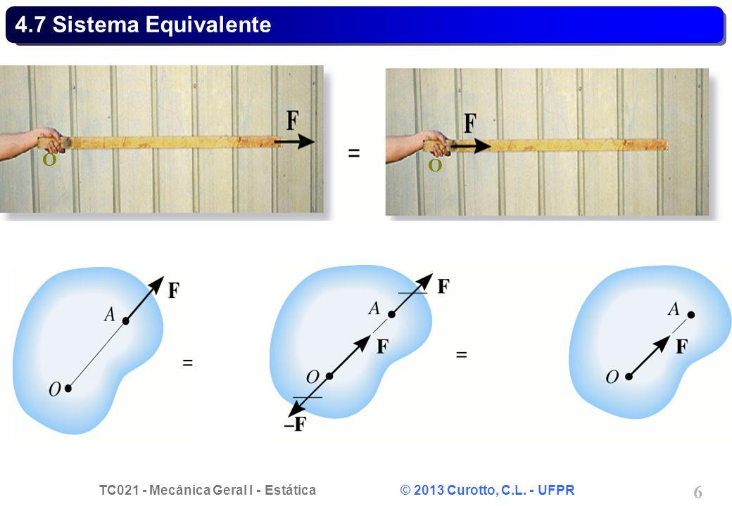 TC021 - Mecânica Geral I - Estática © 2013 Curotto, C.L. - UFPR 6 4.7 Sistema Equivalente O O
