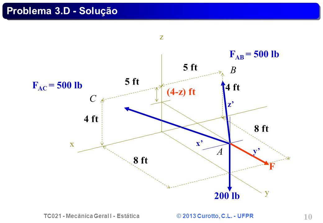 TC021 - Mecânica Geral I - Estática © 2013 Curotto, C.L. - UFPR 10 Problema 3.D - Solução x y z A F AC = 500 lb F AB = 500 lb 200 lb F x y z 5 ft 4 ft