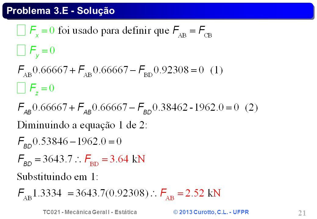 TC021 - Mecânica Geral I - Estática © 2013 Curotto, C.L. - UFPR 21 Problema 3.E - Solução