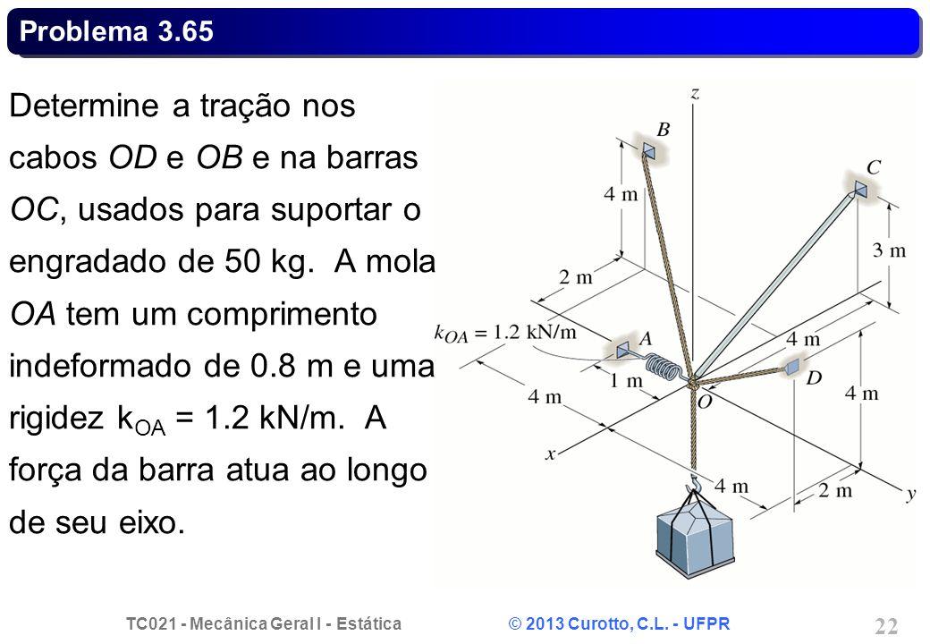 TC021 - Mecânica Geral I - Estática © 2013 Curotto, C.L. - UFPR 22 Problema 3.65 Determine a tração nos cabos OD e OB e na barras OC, usados para supo