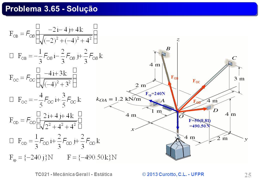 TC021 - Mecânica Geral I - Estática © 2013 Curotto, C.L. - UFPR 25 F sp =240N F OB F OC F OD F=50(9.81) =490.50 N Problema 3.65 - Solução
