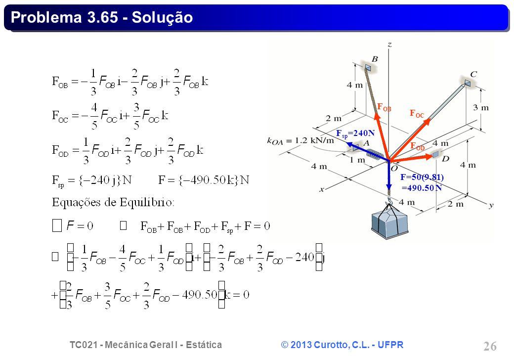 TC021 - Mecânica Geral I - Estática © 2013 Curotto, C.L. - UFPR 26 F sp =240N F OB F OC F OD F=50(9.81) =490.50 N Problema 3.65 - Solução