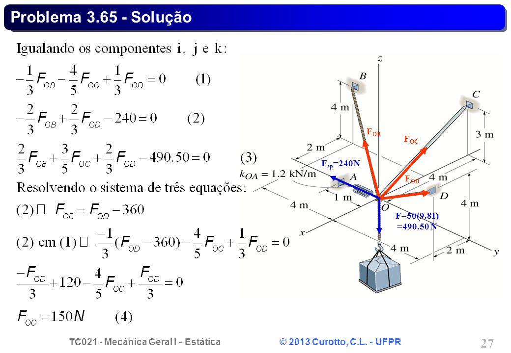 TC021 - Mecânica Geral I - Estática © 2013 Curotto, C.L. - UFPR 27 F sp =240N F OB F OC F OD F=50(9.81) =490.50 N Problema 3.65 - Solução