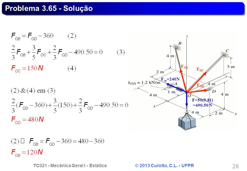 TC021 - Mecânica Geral I - Estática © 2013 Curotto, C.L. - UFPR 28 Problema 3.65 - Solução F sp =240N F OB F OC F OD F=50(9.81) =490.50 N