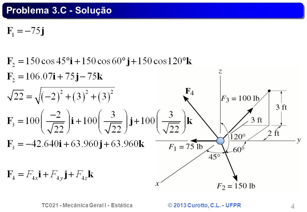 TC021 - Mecânica Geral I - Estática © 2013 Curotto, C.L. - UFPR 15 Problema 3.D - Solução