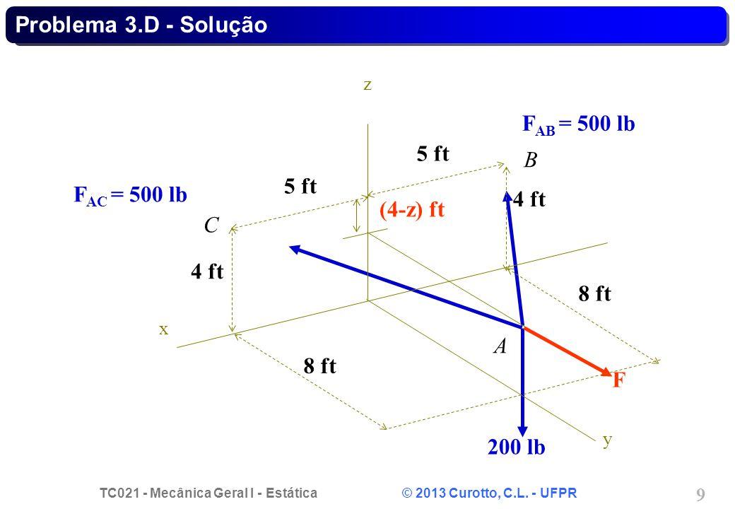 TC021 - Mecânica Geral I - Estática © 2013 Curotto, C.L. - UFPR 9 Problema 3.D - Solução A F AC = 500 lb F AB = 500 lb 200 lb F x y z 5 ft 4 ft 8 ft (