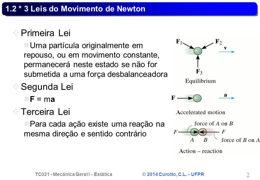 TC021 - Mecânica Geral I - Estática © 2014 Curotto, C.L. - UFPR 2 1.2 * 3 Leis do Movimento de Newton Primeira Lei Uma partícula originalmente em repo