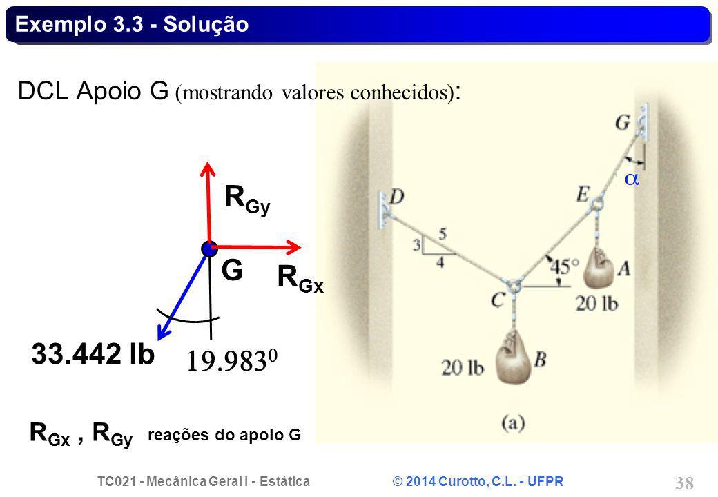 TC021 - Mecânica Geral I - Estática © 2014 Curotto, C.L. - UFPR 38 Exemplo 3.3 - Solução DCL Apoio G (mostrando valores conhecidos) : G 33.442 lb R Gy