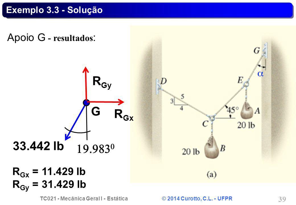 TC021 - Mecânica Geral I - Estática © 2014 Curotto, C.L. - UFPR 39 Exemplo 3.3 - Solução Apoio G - resultados : G 33.442 lb R Gy R Gx = 11.429 lb R Gy