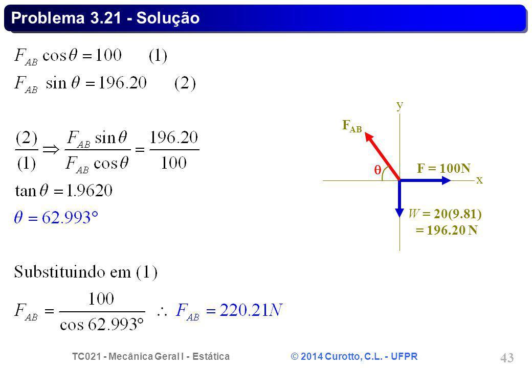 TC021 - Mecânica Geral I - Estática © 2014 Curotto, C.L. - UFPR 43 Problema 3.21 - Solução F = 100N x y W = 20(9.81) = 196.20 N F AB