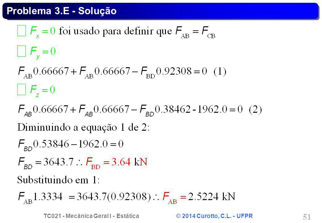 TC021 - Mecânica Geral I - Estática © 2014 Curotto, C.L. - UFPR 51 Problema 3.E - Solução