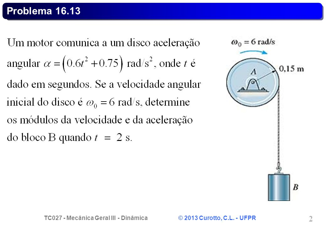 TC027 - Mecânica Geral III - Dinâmica © 2013 Curotto, C.L. - UFPR 3 Problema 16.13 - Solução