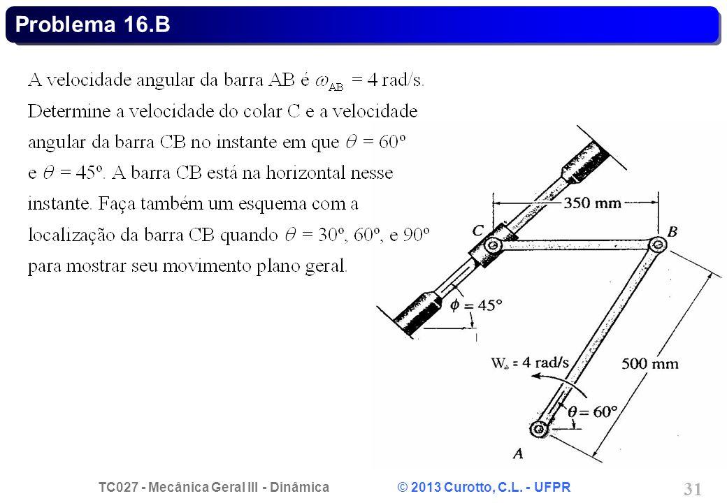 TC027 - Mecânica Geral III - Dinâmica © 2013 Curotto, C.L. - UFPR 31 Problema 16.B