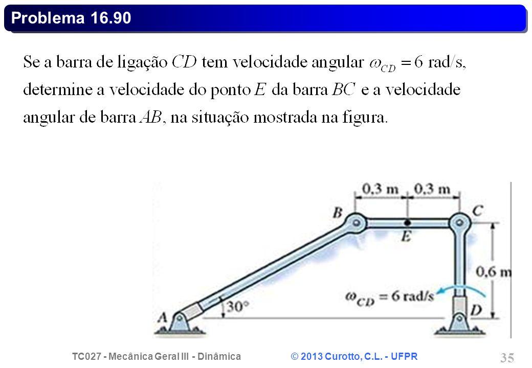 TC027 - Mecânica Geral III - Dinâmica © 2013 Curotto, C.L. - UFPR 35 Problema 16.90