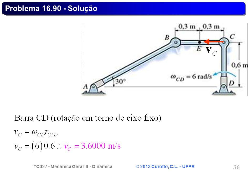 TC027 - Mecânica Geral III - Dinâmica © 2013 Curotto, C.L. - UFPR 36 Problema 16.90 - Solução