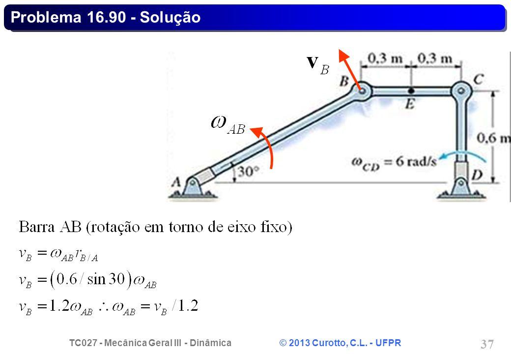 TC027 - Mecânica Geral III - Dinâmica © 2013 Curotto, C.L. - UFPR 37 Problema 16.90 - Solução