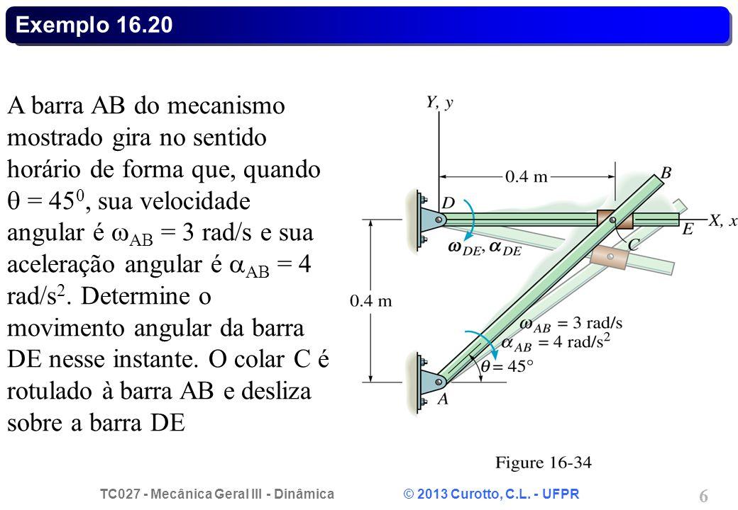 TC027 - Mecânica Geral III - Dinâmica © 2013 Curotto, C.L. - UFPR 17 Problema 16.34 - Solução