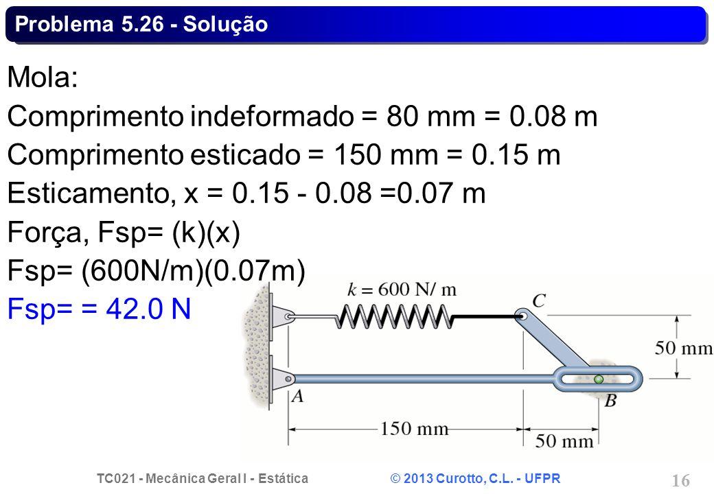 TC021 - Mecânica Geral I - Estática © 2013 Curotto, C.L. - UFPR 16 Problema 5.26 - Solução Mola: Comprimento indeformado = 80 mm = 0.08 m Comprimento