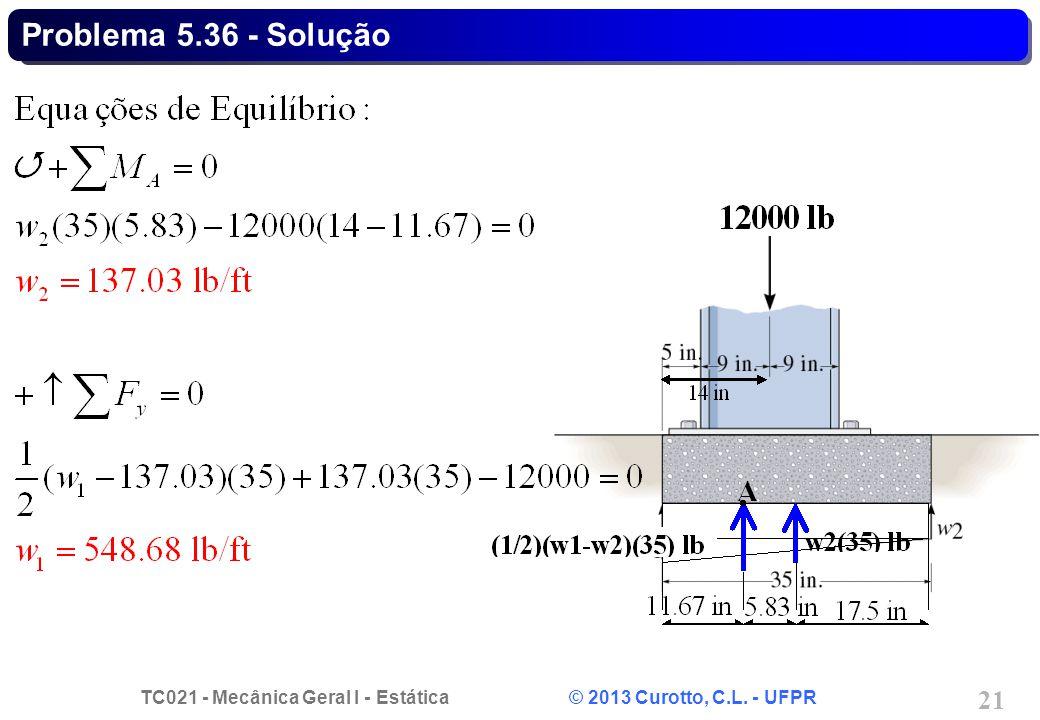 TC021 - Mecânica Geral I - Estática © 2013 Curotto, C.L. - UFPR 21 Problema 5.36 - Solução