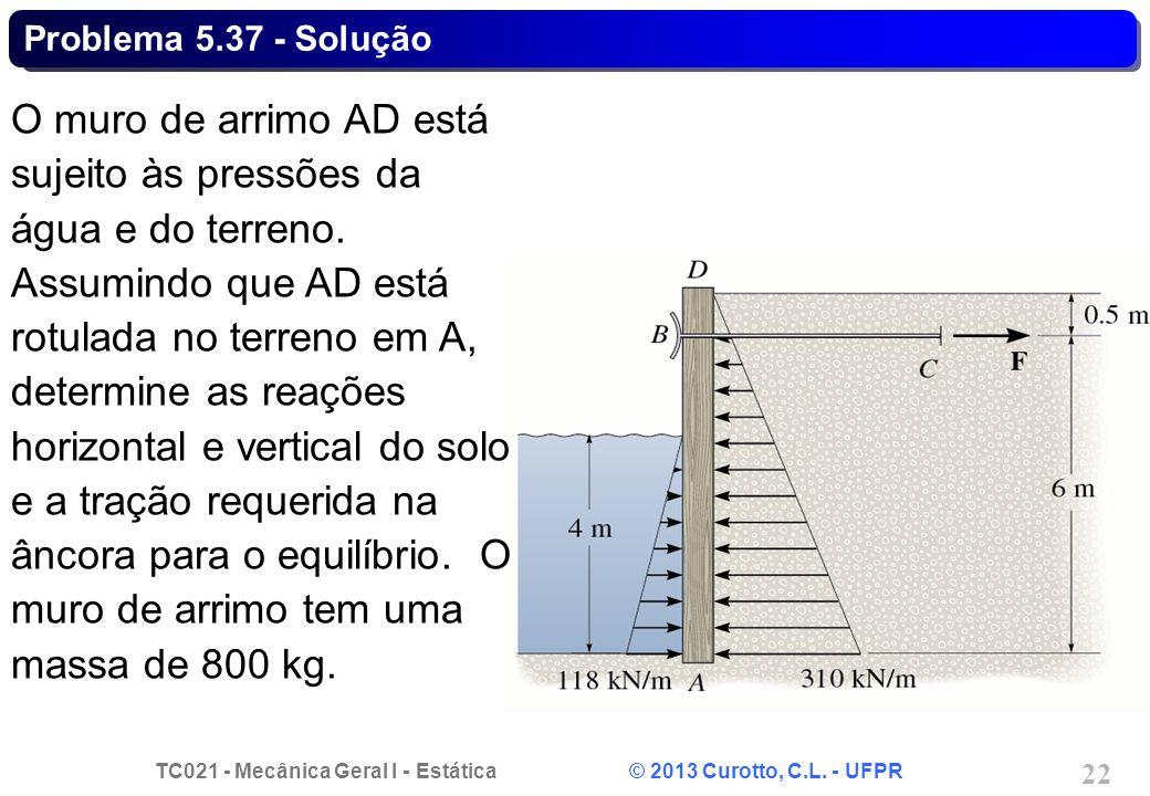TC021 - Mecânica Geral I - Estática © 2013 Curotto, C.L. - UFPR 22 Problema 5.37 - Solução O muro de arrimo AD está sujeito às pressões da água e do t