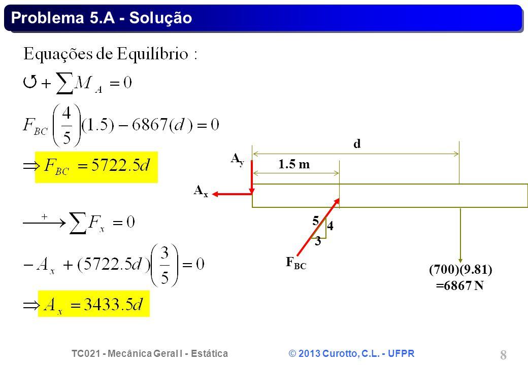 TC021 - Mecânica Geral I - Estática © 2013 Curotto, C.L. - UFPR 8 Problema 5.A - Solução d 3 5 4 F BC AxAx AyAy (700)(9.81) =6867 N 1.5 m