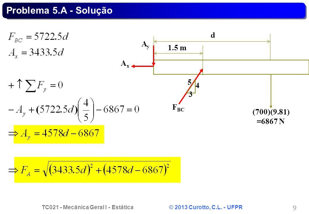 TC021 - Mecânica Geral I - Estática © 2013 Curotto, C.L. - UFPR 9 Problema 5.A - Solução d 3 5 4 F BC AxAx AyAy (700)(9.81) =6867 N 1.5 m