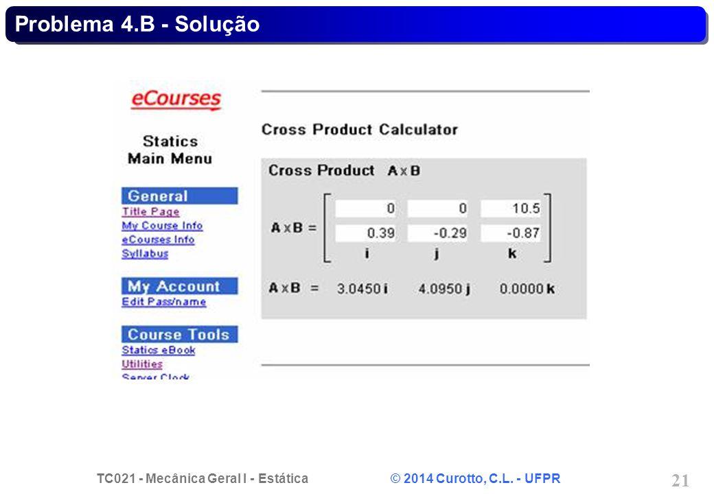 TC021 - Mecânica Geral I - Estática © 2014 Curotto, C.L. - UFPR 21 Problema 4.B - Solução