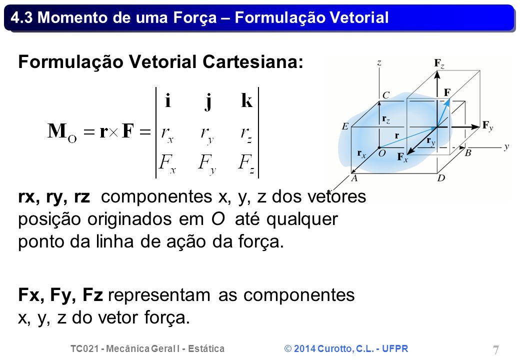 TC021 - Mecânica Geral I - Estática © 2014 Curotto, C.L. - UFPR 18 Problema 4.B - Solução